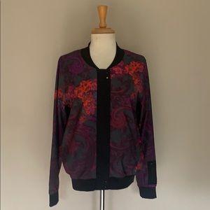 Fabletics black red purple zip front warmup jacket